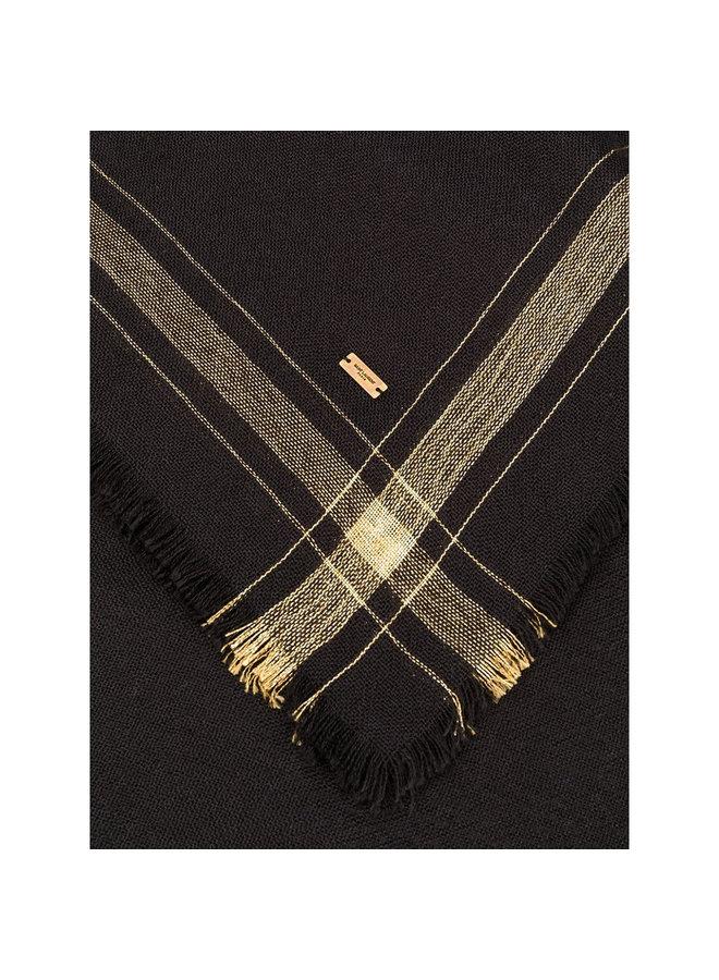 Stripe Trim Frayed Scarf in Silk in Black/Gold