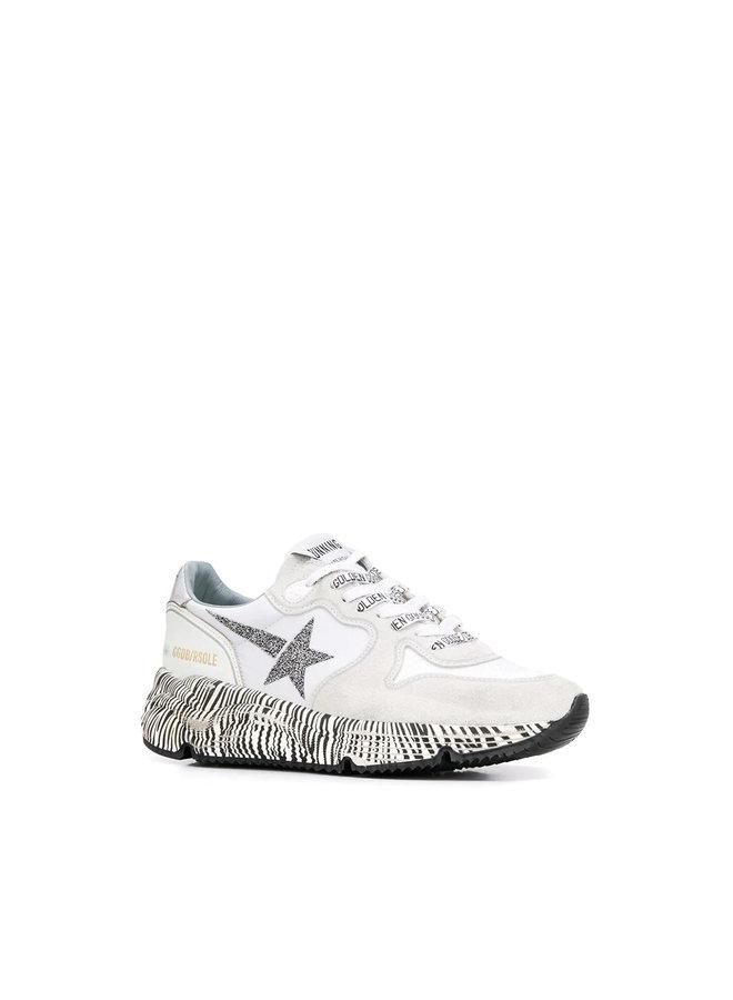Running Sole Sneakers in Suede in White/Zebra