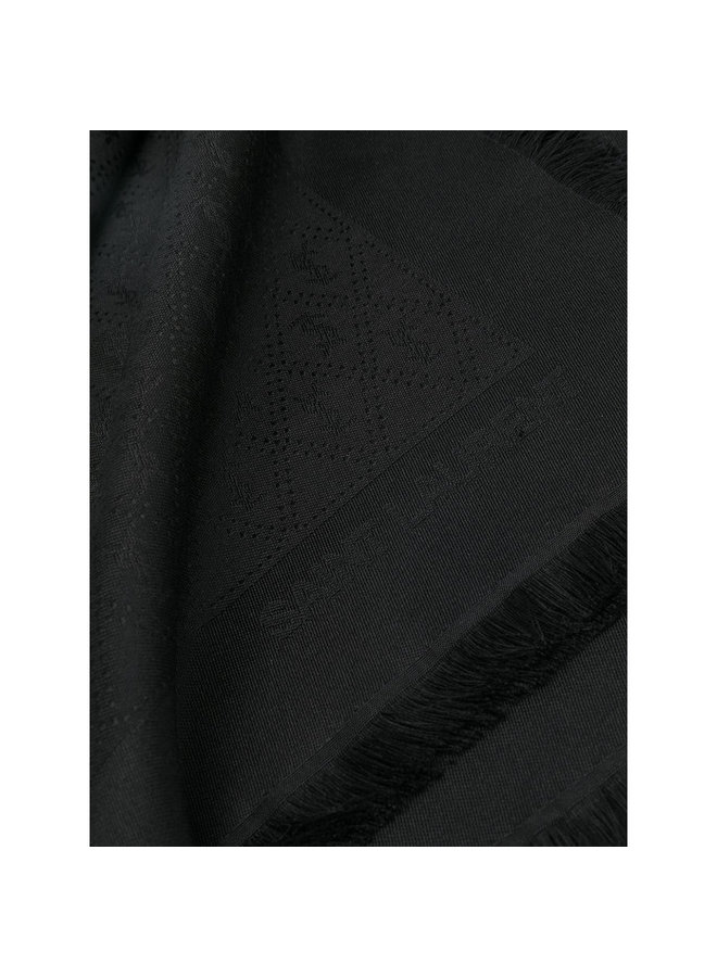 Monogram Ysl Scarf, In Silk/Wool, Black