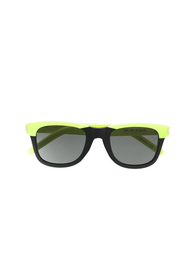 D-Frame Sunglasses, Classic 51, Blk/Neon Yellow