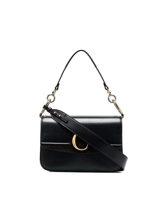 C Large Shoulder Bag in Shiny Calfskin Leather