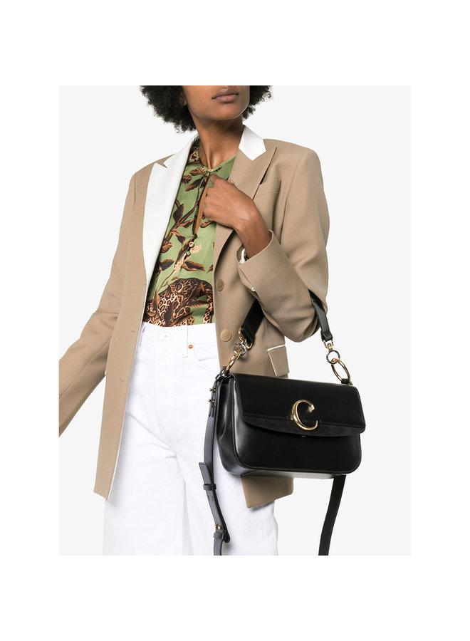 Chloe C Large Shoulder Bag in Black Shiny Calfskin Leather