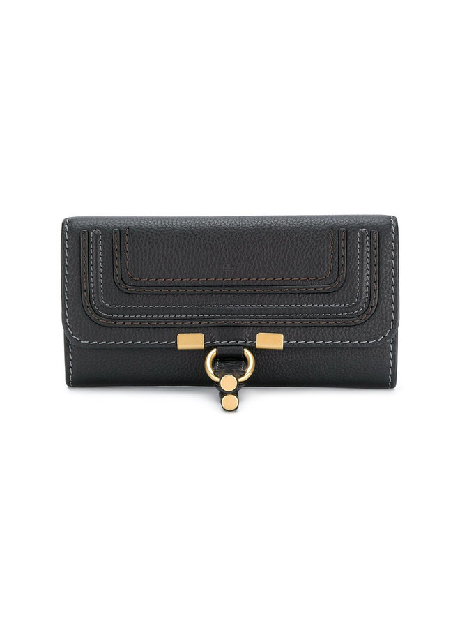 Chloe Marcie Long Flap Wallet With Flap in Black Small Grain Calfskin Leather