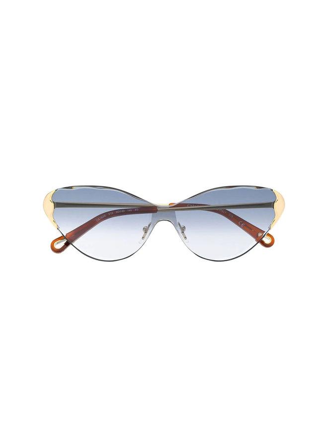Cat Eye Frame Sunglasses Gold Hardware Details