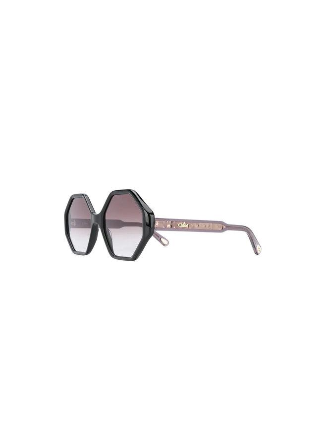 Chloe Large Octagonal Frame Sunglasses In Black