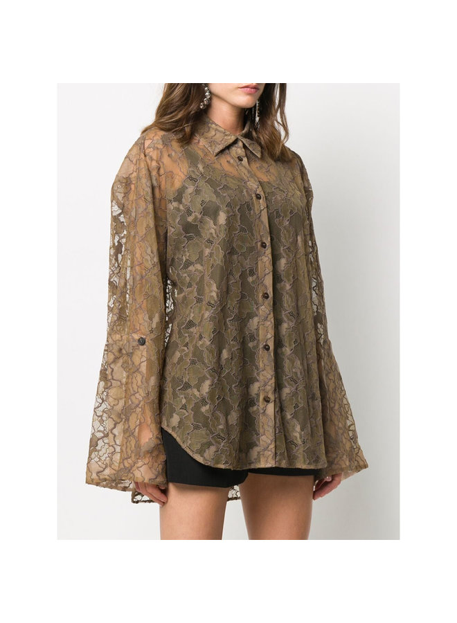 Long Sleeve Shirt in Sheer Lace in Tan
