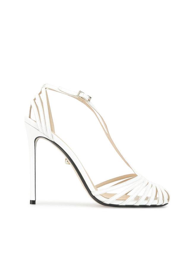 Toni High Heel Sandal in Patent White