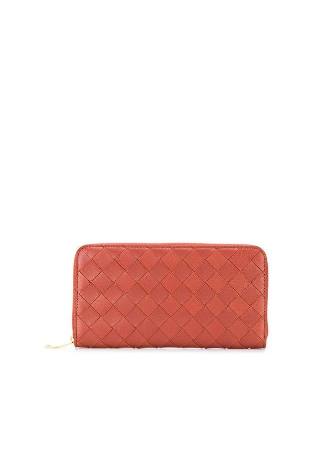 Zip Around Wallet in Large Intrecciato