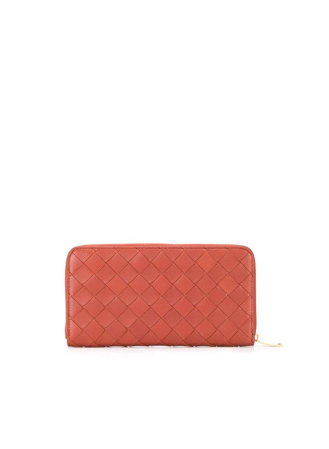 Zip Around Wallet in Large Intrecciato in Rust/Gold