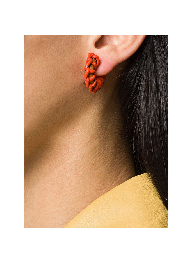 Hoop Earrings with Leather in Orange