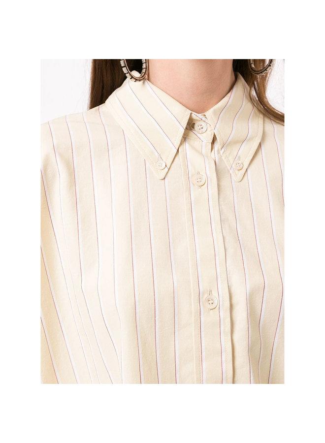Long Sleeve Striped Shirt in Cotton/Silk in Ecru/Yellow