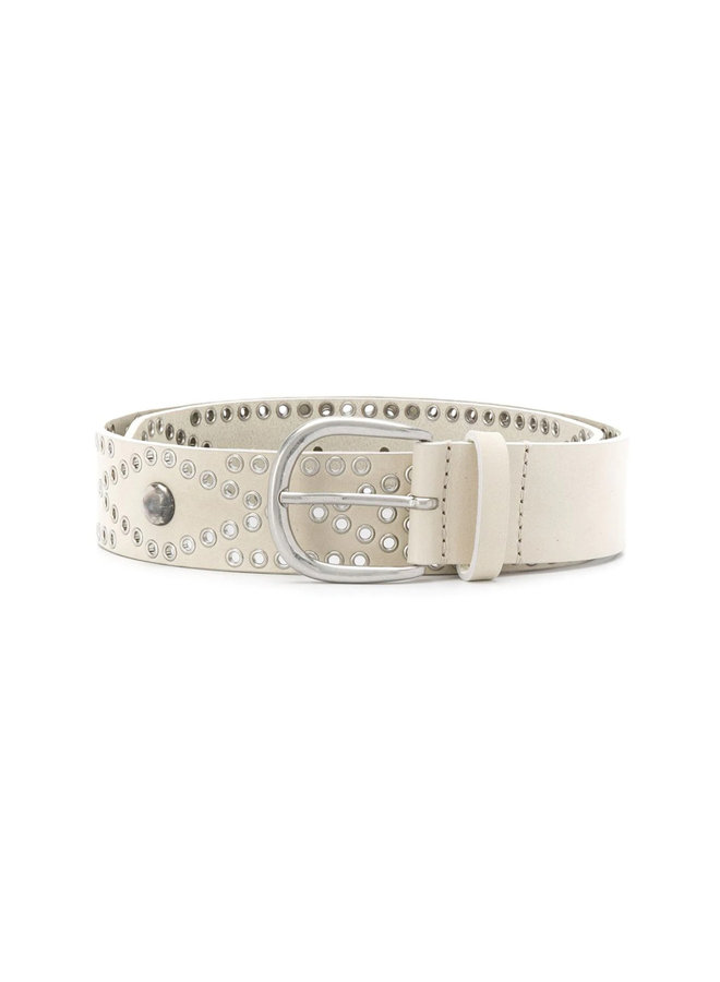 Belt with Studs in Leather in Chalk