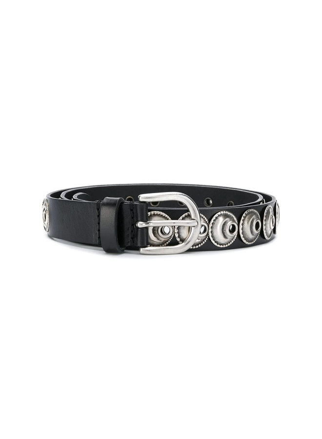 Belt with Ethnic Eyelets in Leather in Black
