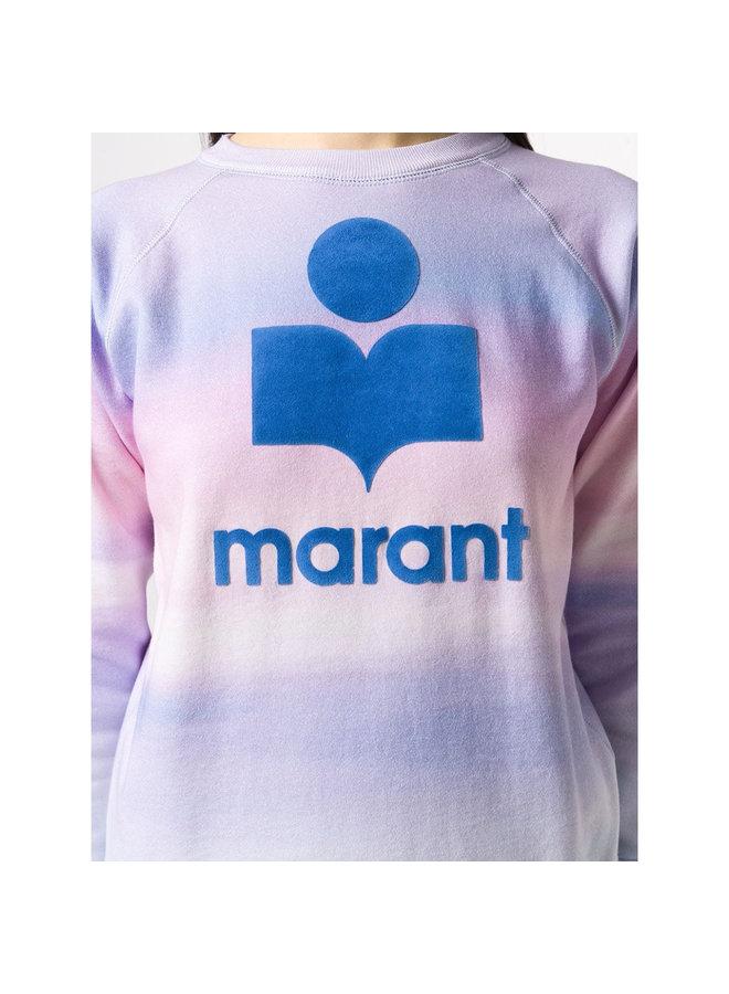 'Marant' Logo Sweater Tie Dye Cotton in Blue/Pink