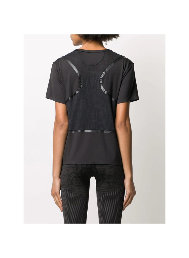 Loose Logo T-Shirt with Mesh Details in Black