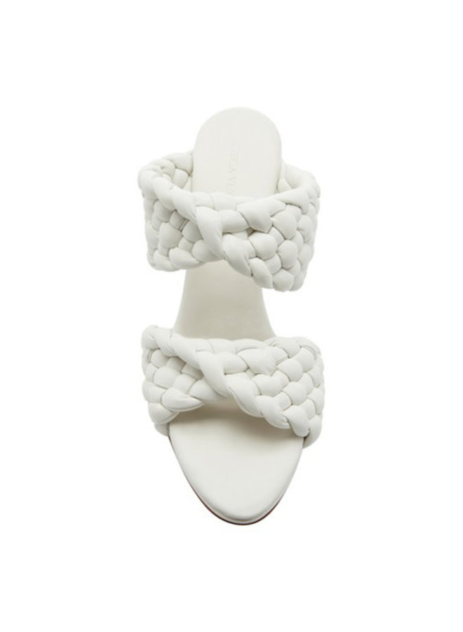 High Heel Twist Sandal in Intrecciato in Optic White