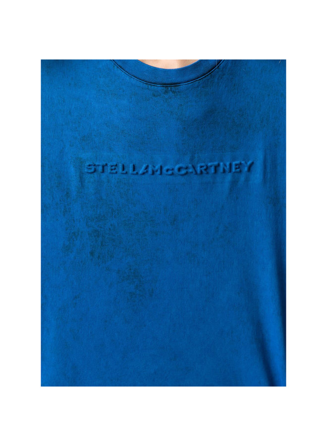 Embossed Logo T-Shirt in Jersey in Blue Wash