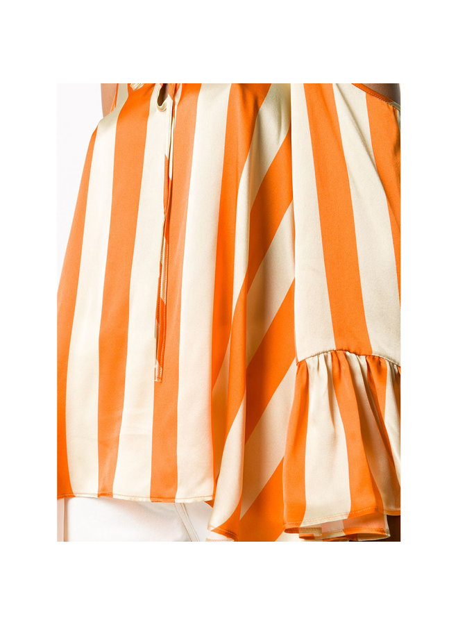 Long Sleeve Striped Blouse in Silk in Orange Stripes