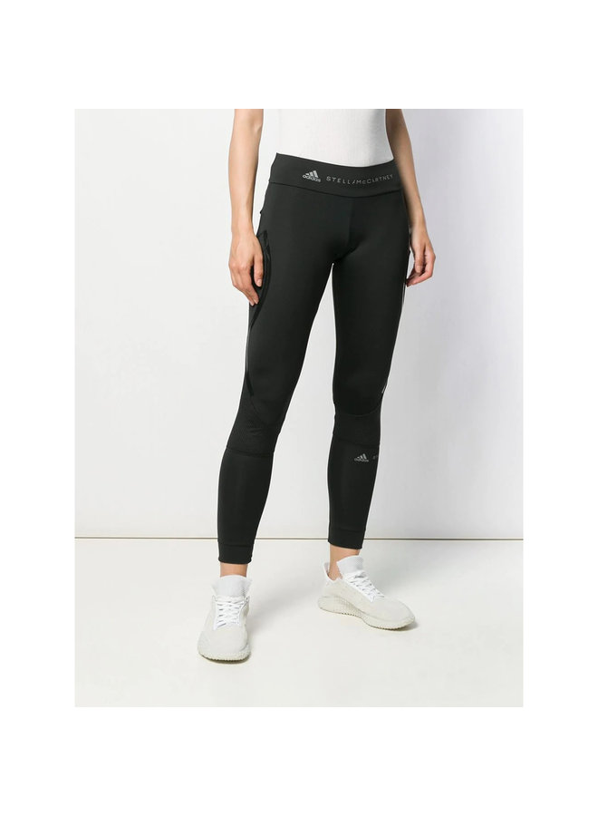 Mid Waist Leggings with Mesh in Black