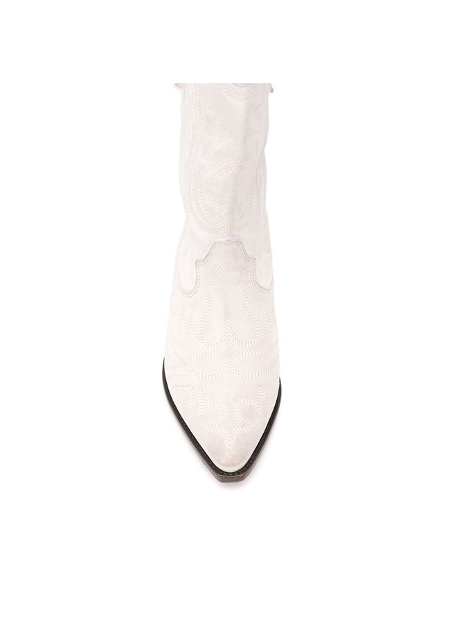 Mid Heel Cowboy Boots in White