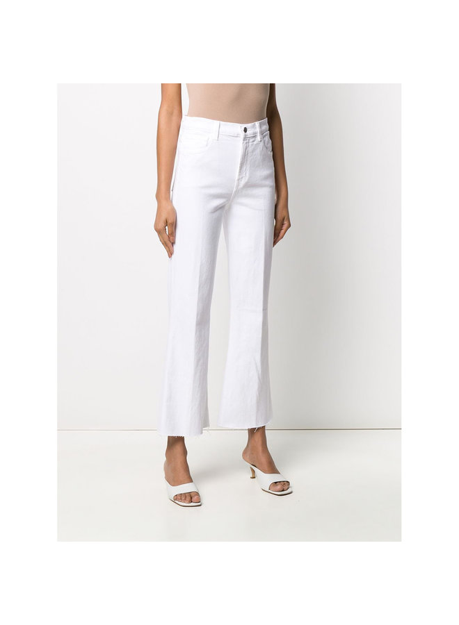 Julia High Rise Flare Pants in White