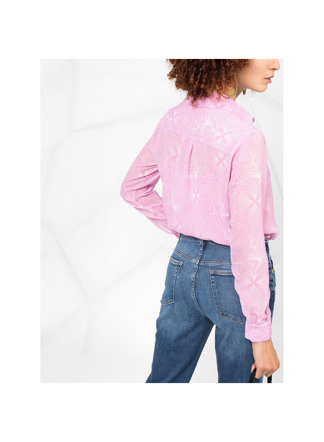 Long Sleeve Printed Floral Shirt in Pink