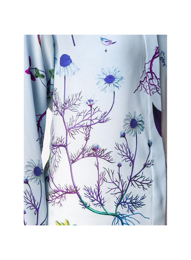 Long Sleeve Printed Shirt in Silk in Multicolor Blue