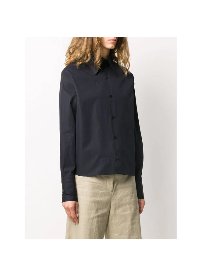 Long Sleeve Shirt in Organic Popeline in Marine