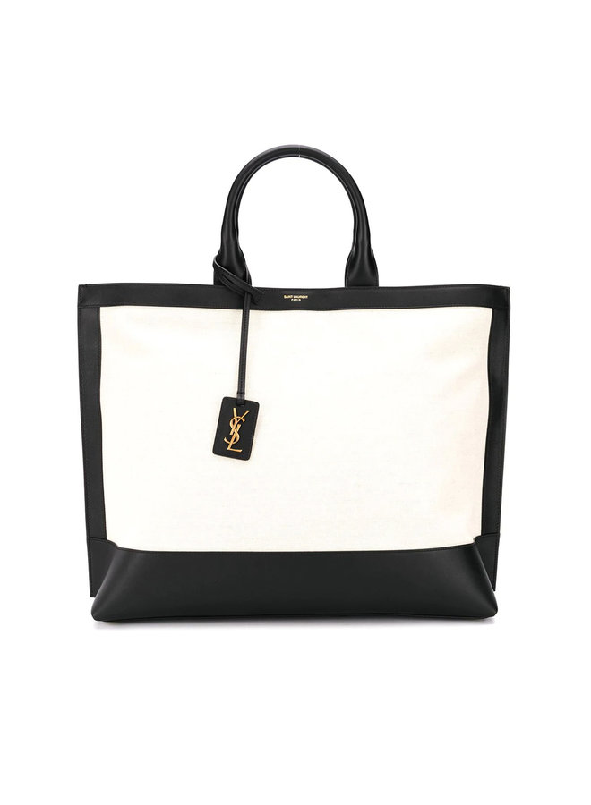 Tote Shopper Bag in Leather/Canvas in Black/Natural