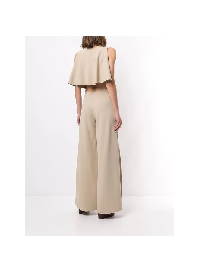 Full Length Jumpsuit in Compact Knit in Oyster