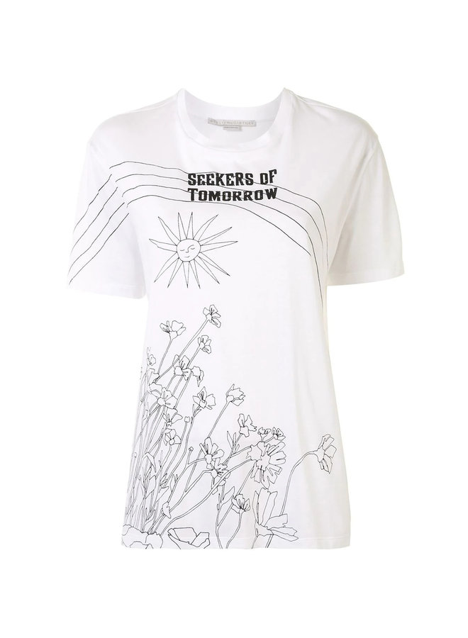 'Seekers of Tomorrow' Printed T-shirt in Cotton in White
