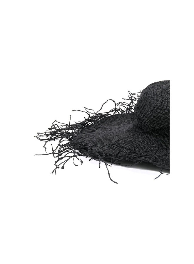Fringed Hat in Black