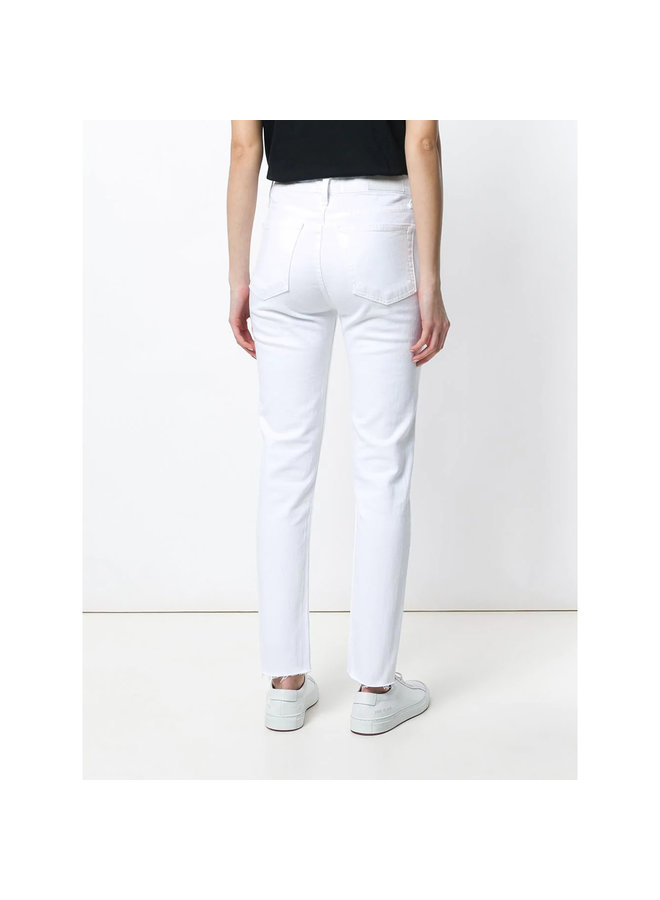 High Rise Ankle Crop Jeans in White