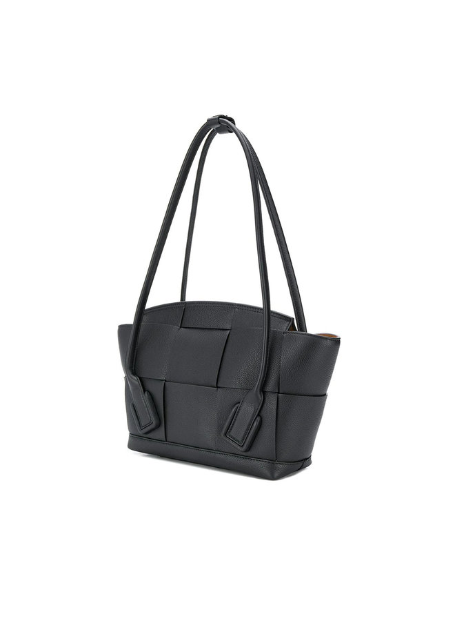 Small Arco Bag, in Maxi Intrecciato Black Leather