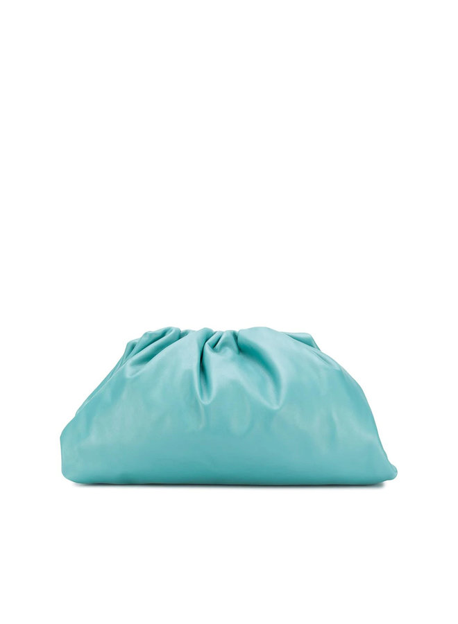 The Pouch Large Clutch Bag in Leather in Blue
