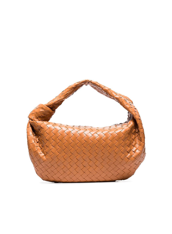 Jodie Shoulder Bag in Intrecciato Leather in Tan
