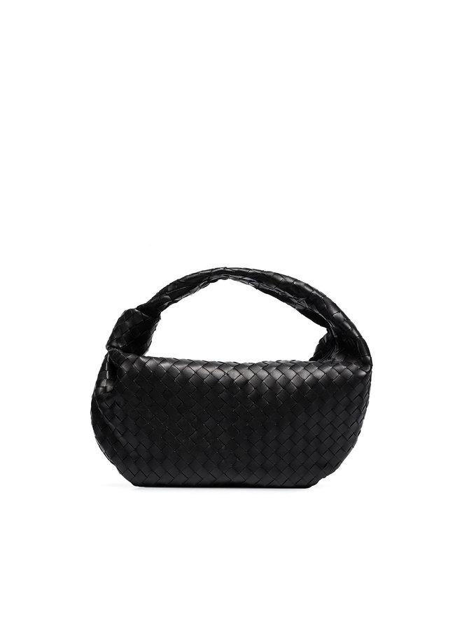 Jodie Shoulder Bag in Intrecciato Leather in Black