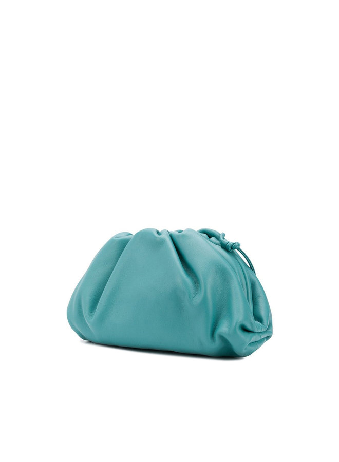 Mini Pouch Bag in Leather in Blue