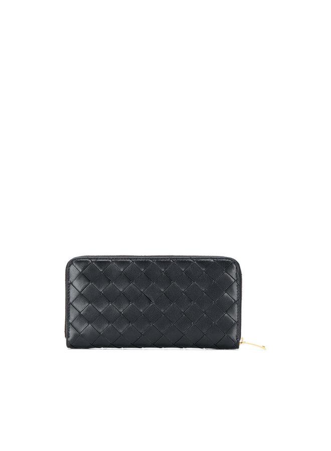 Zip Around Wallet in Intrecciato in Black/Gold