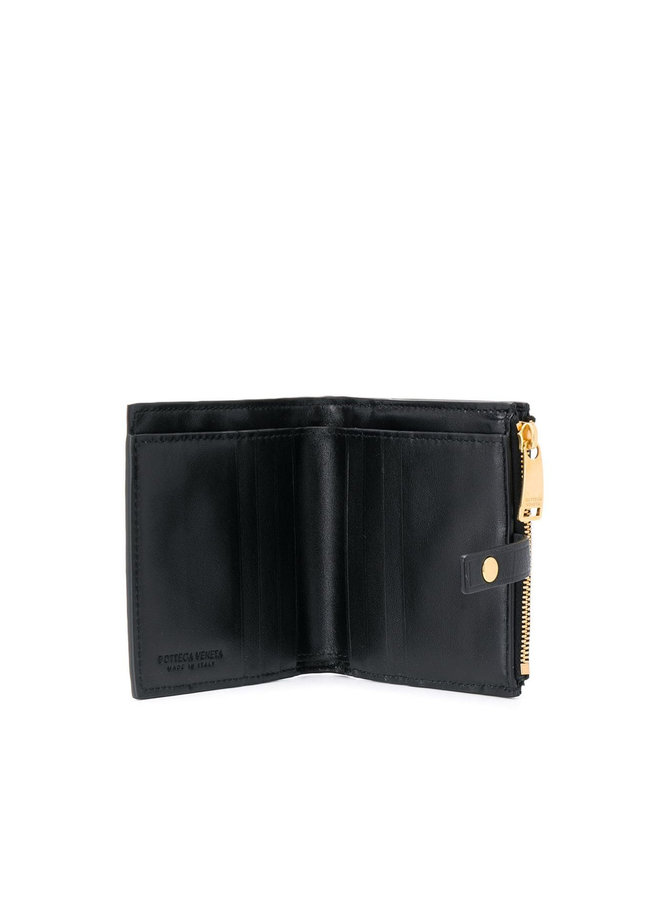Continental Square Wallet in Large Intrecciato in Black/Gold