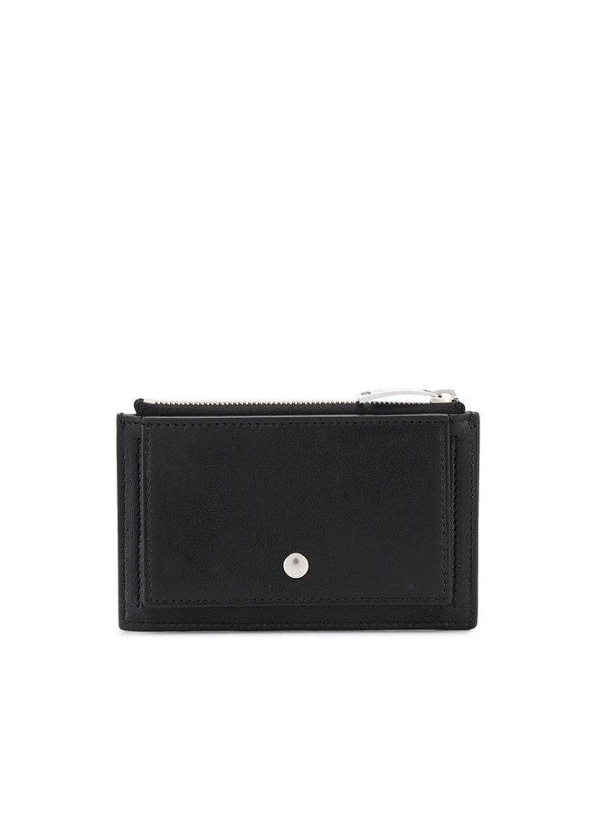 Zip Card Holder in Intrecciato in Black/Silver