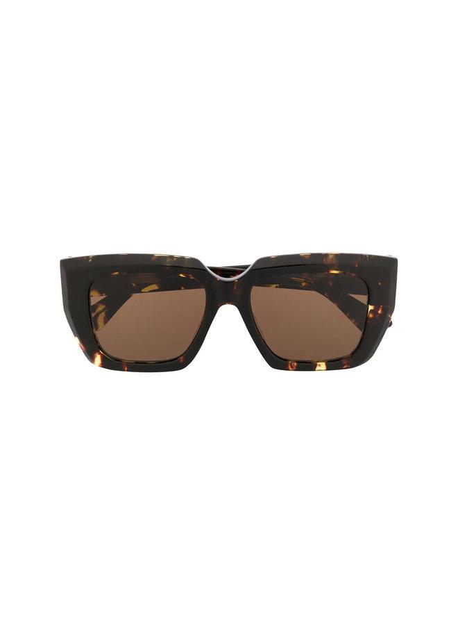 Square Frame Oversized Sunglasses in Havana Brown