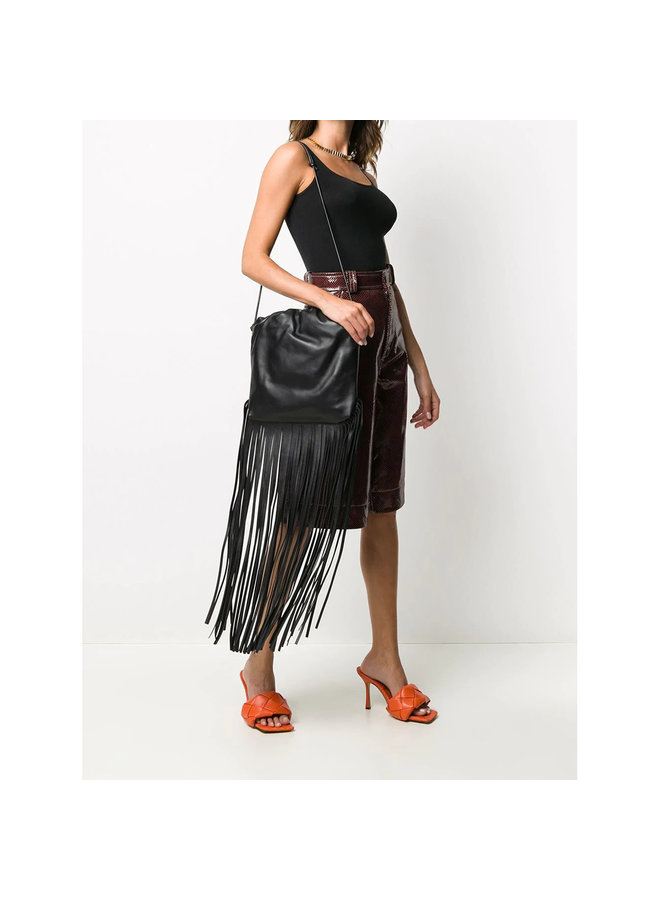 The Fringed Pouch Shoulder Bag in Leather in Black