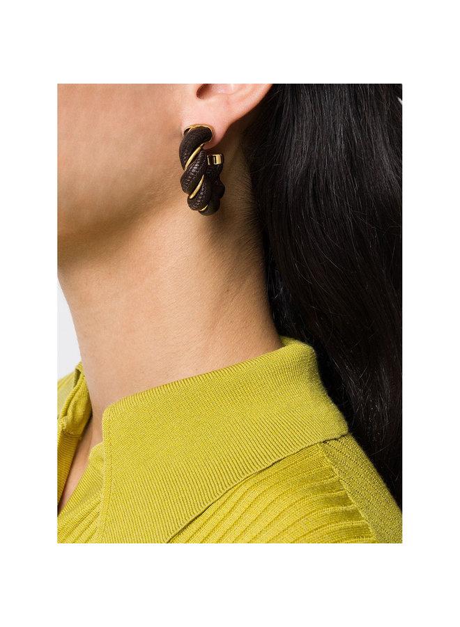 Twist Hoop Earrings in Leather in Brown