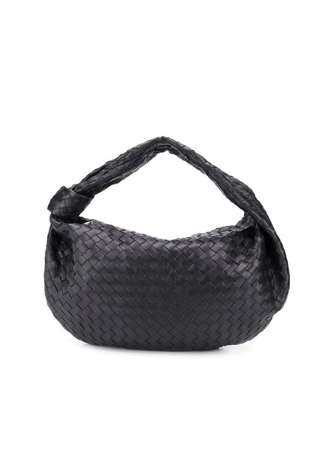Large Jodie Shoulder Bag in Intrecciato Leather in Black