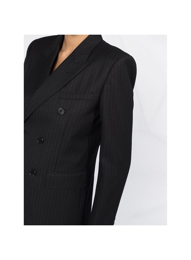 Double Breasted Pinstriped Blazer Jacket in Black