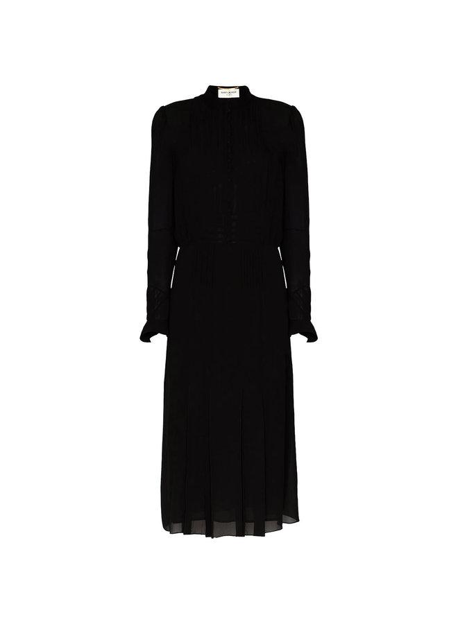 Midi Shirt Dress in Silk in Black