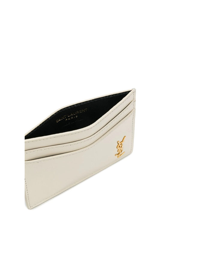 Logo Card Holder in Leather in White/Gold