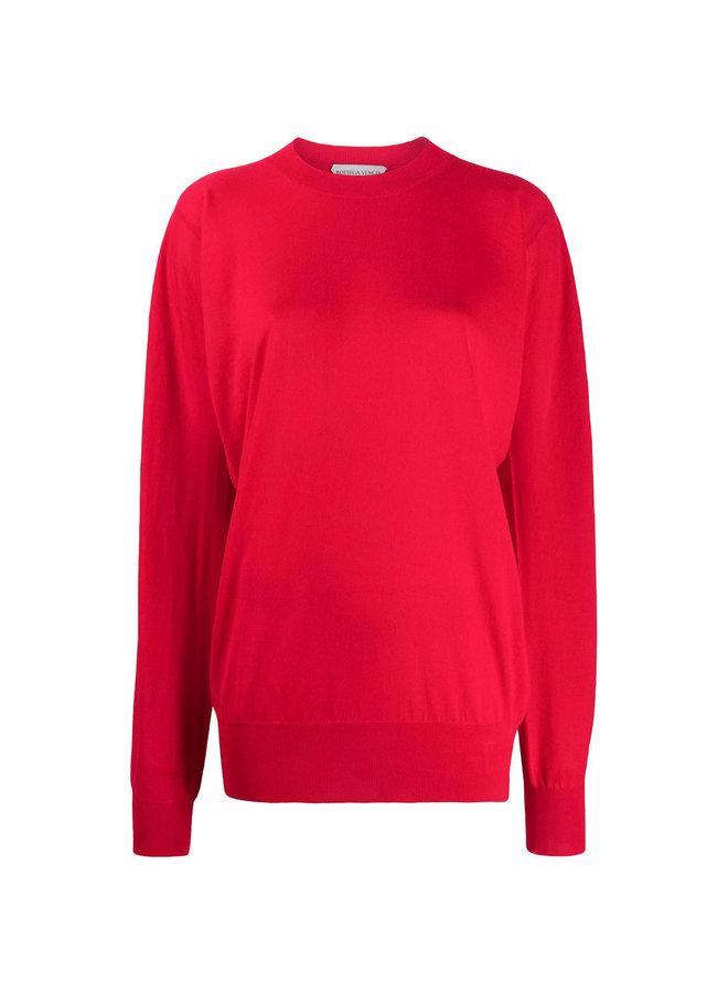 Crew Neck Knitwear Jumper in Wool in Red