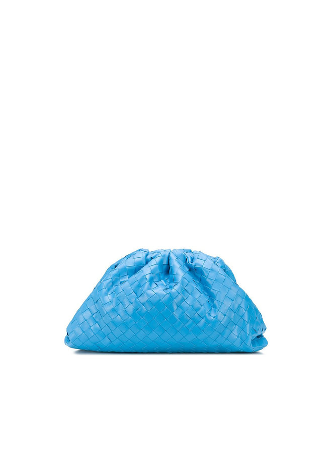 Large Pouch Clutch Bag in Intrecciato in Light Blue